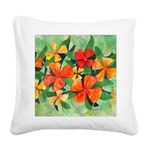 Tropical Flowers Splash Square Canvas Pillow