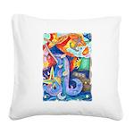 Surreal Seascape Watercolor Square Canvas Pillow