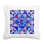 Blue Quilt Watercolor Square Canvas Pillow