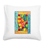 Autumn Quilt Watercolor Square Canvas Pillow