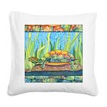 Turtle Tie Dye Watercolor Square Canvas Pillow