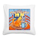 Tea For Me Cat Watercolor Square Canvas Pillow