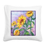 Sunny Sunflowers Watercolor Square Canvas Pillow