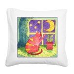 Cat and Moon Watercolor Square Canvas Pillow
