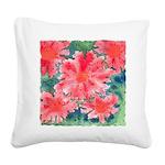 Watercolor Flowers Square Canvas Pillow