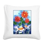 Fish and Flowers Art Square Canvas Pillow