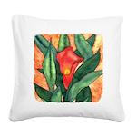Red Calla Lily Watercolor Square Canvas Pillow