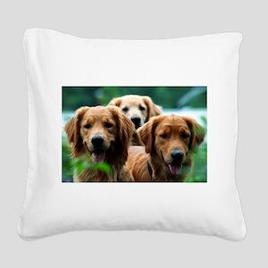 3 Golden Retrievers Square Canvas Pillow
