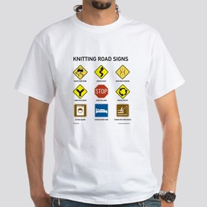 Knitting Road Signs White T-Shirt