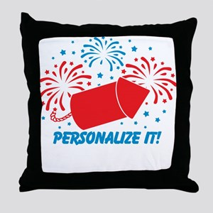 PERSONALIZED Cute Fireworks Throw Pillow