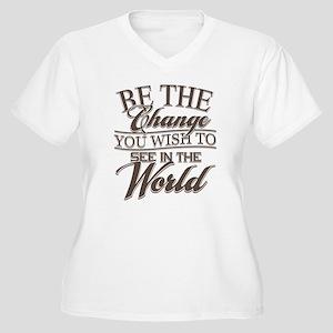 Be The Change Women's Plus Size V-Neck T-Shirt