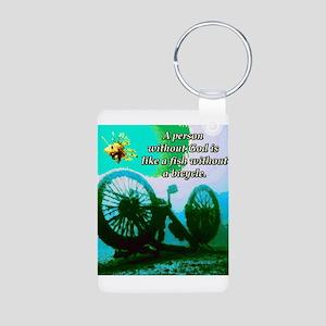 Without God Aluminum Photo Keychain