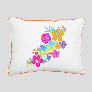 Tropical Flowers Rectangular Canvas Pillow