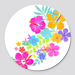 Tropical Flowers Round Car Magnet