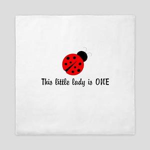 First Birthday Ladybug Queen Duvet