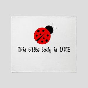 First Birthday Ladybug Throw Blanket