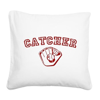Catcher - Red Square Canvas Pillow