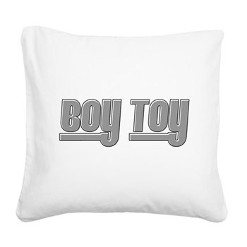 Boy Toy - Gray Square Canvas Pillow