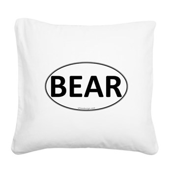 BEAR Euro Oval Square Canvas Pillow