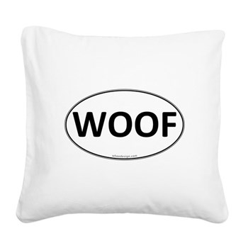WOOF Euro Oval Square Canvas Pillow