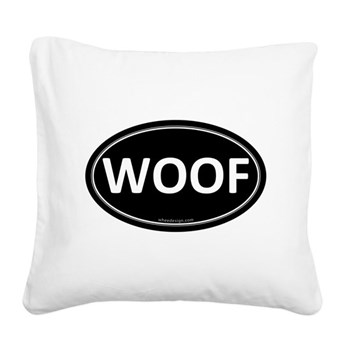 WOOF Black Euro Oval Square Canvas Pillow