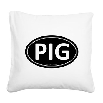 PIG Black Euro Oval Square Canvas Pillow