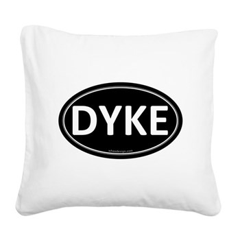 DYKE Black Euro Oval Square Canvas Pillow