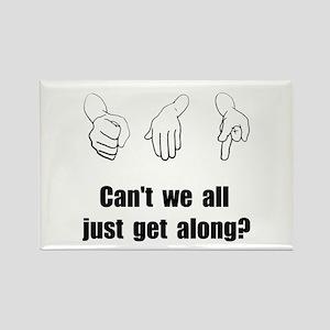 Get Along Rock Paper Scissors Rectangle Magnet (10