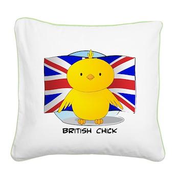 British Chick Square Canvas Pillow