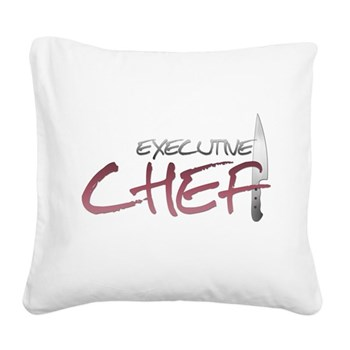 Red Executive Chef Square Canvas Pillow