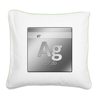 Silver (Ag) Square Canvas Pillow