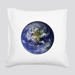 Western Earth from Space Square Canvas Pillow