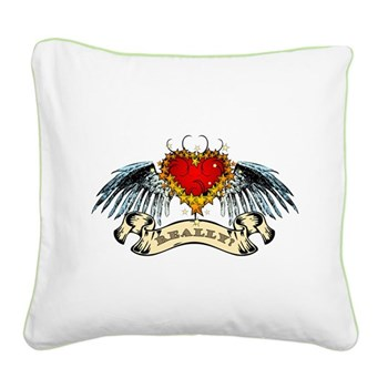 Really? Winged Heart Square Canvas Pillow