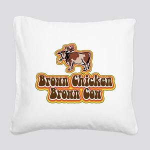 Brown Chicken Brown Cow Square Canvas Pillow