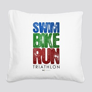 Swim, Bike, Run - Triathlon Square Canvas Pillow