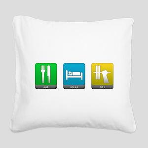 Eat, Sleep, Lift Square Canvas Pillow