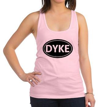 DYKE Black Euro Oval Racerback Tank Top