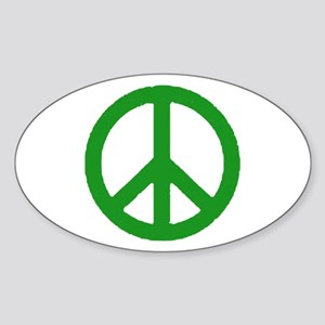 Green Peace sign Sticker (Oval)