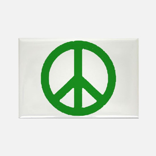 Green Peace sign Rectangle Magnet (10 pack)