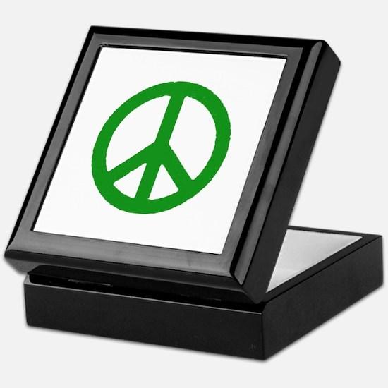 Green Peace sign Keepsake Box