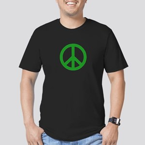 Green Peace sign Men's Fitted T-Shirt (dark)