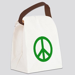 Green Peace sign Canvas Lunch Bag