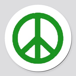 Green Peace sign Round Car Magnet