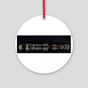 Boathouse Row Night Panoramic Ornament (Round)
