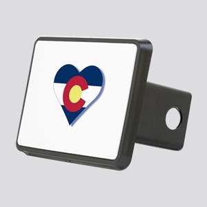 Colorado Flag Heart Rectangular Hitch Cover