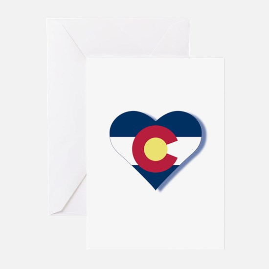 Colorado Flag Heart Greeting Cards (Pk of 20)