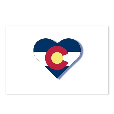 Colorado Flag Heart Postcards (Package of 8)