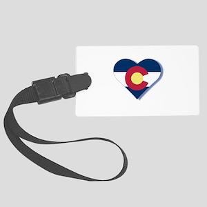 Colorado Flag Heart Large Luggage Tag