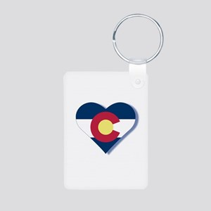 Colorado Flag Heart Aluminum Photo Keychain