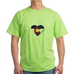 Colorado Flag Heart Green T-Shirt